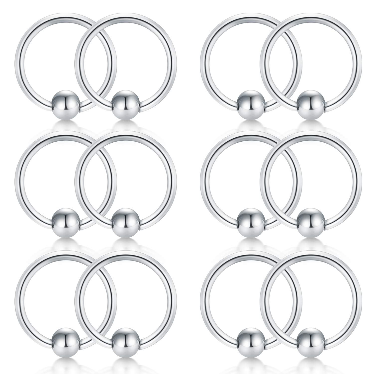 2e89f1caf6eaf D.Bella 16G Surgical Steel Nose Hoop Septum Earring Eyebrow Tongue ...
