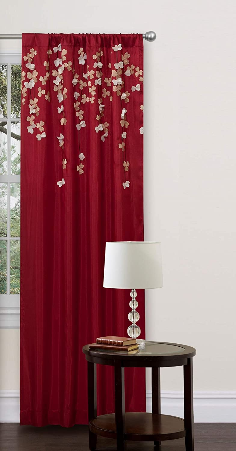 """Lush Decor Flower Drops Curtain Panel for Living Room, Bedroom, Dining Room (Single), 84"""" x 42"""", Red"""