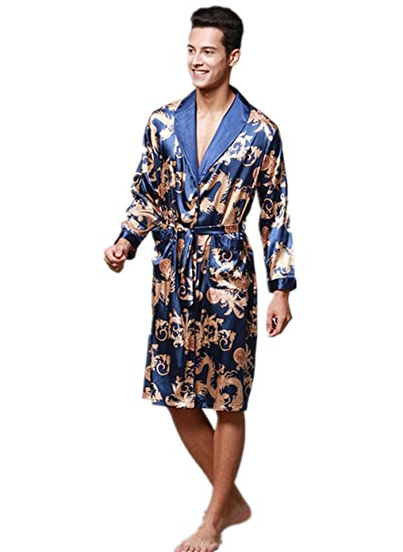 2020 super service preview of Men's Short Kimono Robes Silk Nightwear Bathrobes