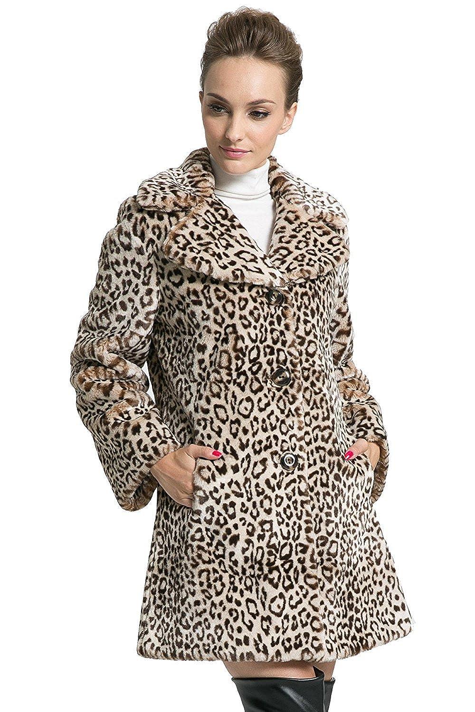 Ovonzo Abrigo de Piel Sintética con Estampado de Leopardo Chaqueta de Longitud Media para Mujer Tamaño M: Amazon.es: Ropa y accesorios