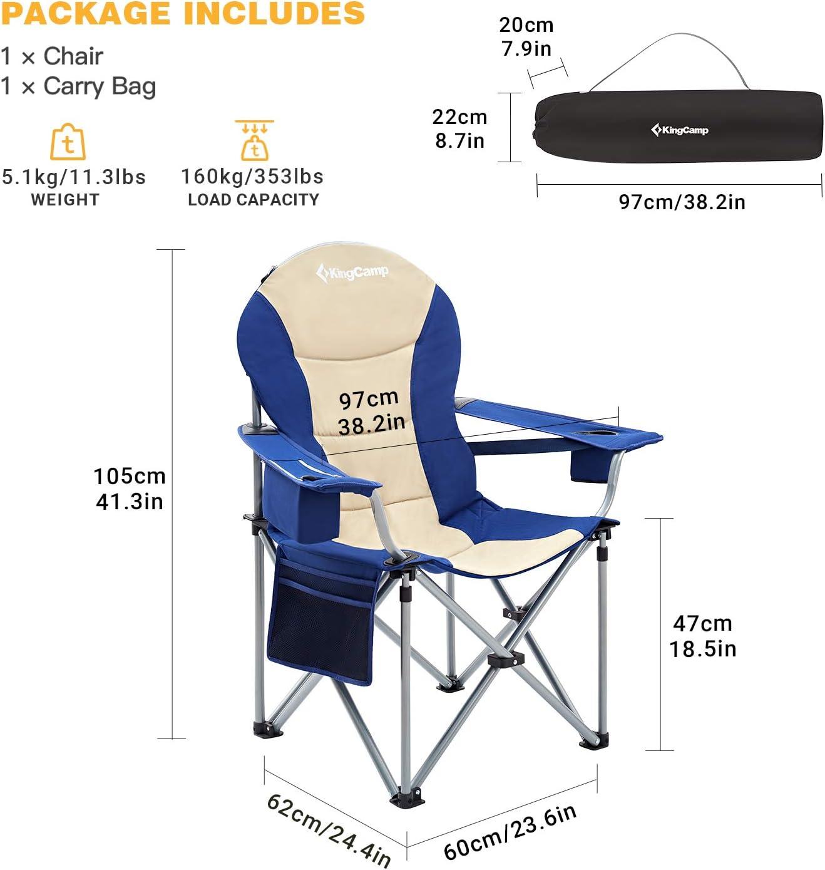 KingCamp Lot de 2 Chaise de Camping Pliante /Élargie Surdimensionn/é Charge 180kg Chaise Directeur avec Sac de Rangement Table dAppoint Porte-Gobelet pour Randonn/ée Pique-Nique P/êche Plage Jardin