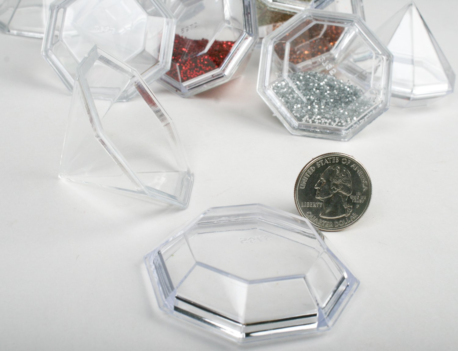 Amazon.com: Package of 12 Clear Acrylic Diamond Shaped Favor Boxes ...