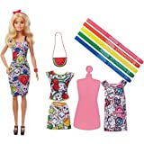 Barbie Crayola Color-in Fashions Doll and Fashions Set, Creative Art Fashion Toy with Doll, Washable Fashions, Scented Markers and Scented Purse, Gift for 5 Year Olds and Up