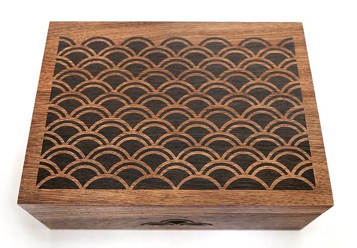 Scallop Pattern Laser Cut Wood Keepsake Box Wedding Gift Baby Shower Heirloom