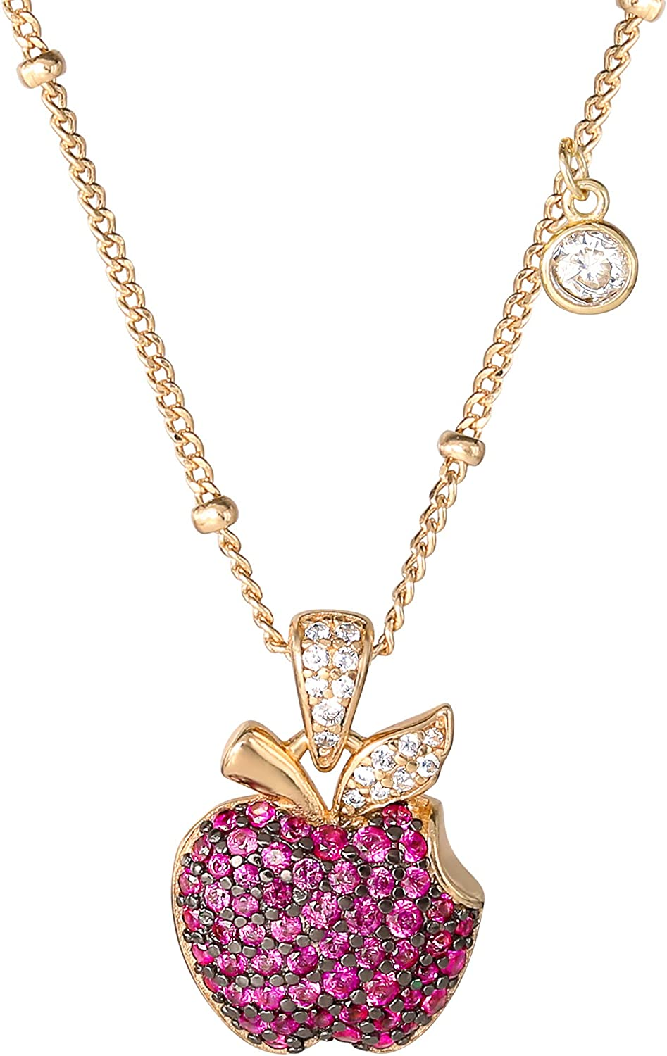 Disney Villains Evil Queen Yellow Gold Plated Sterling Silver Cubic Zirconia Bitten Apple Necklace, Official License