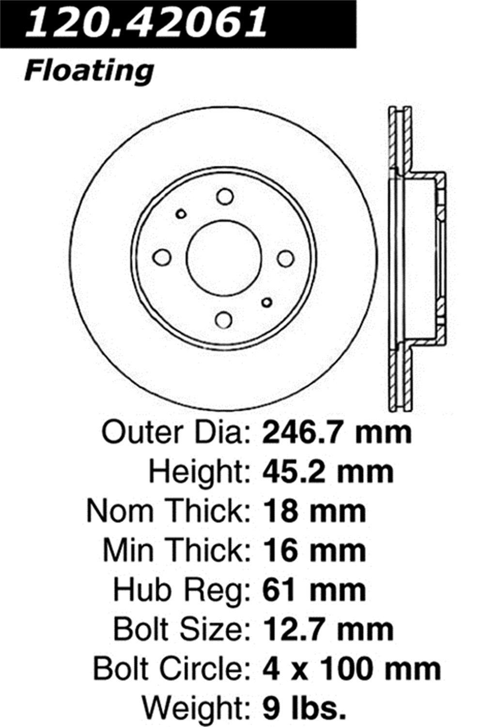 1 Pack Front Right StopTech 128.42061R Sport Cross Drilled Brake Rotor