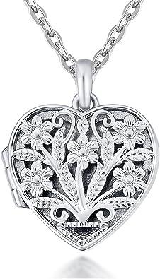 Argent Plaque Fleur Modele Amour Coeur Photo Medaillon Pendentif Collier