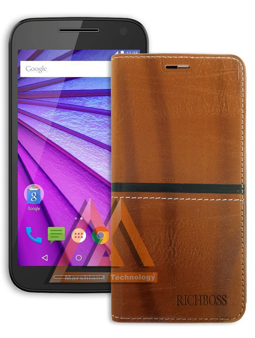 top fashion 99519 c6aab Marshland Premium Quality Leather Inner Soft Silicon Wallet Case Designer  Flip Cover for Moto G 3rd Gen (Black Color)