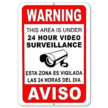 Señales de vídeo vigilancia CCTV cámara de seguridad Signs Metal Aluminio Inglés Español: Amazon.es: Jardín