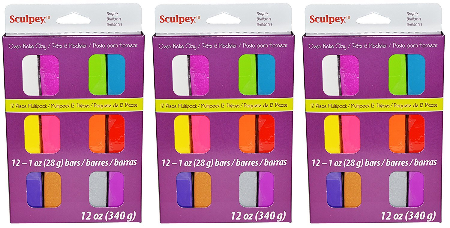 Sculpey III Brights 12-Piece Multipack Oven-Bake Clay - Used for Creating Home Decor, Figurines, and More - 12 Ounces, Pack of 3