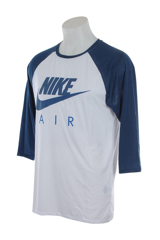 805227 100 MEN TEE AIR RAGLAN NIKE WHITE COASTAL BLUE GAME ROYAL