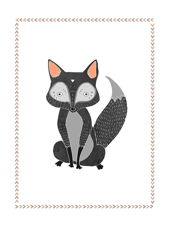 Children's Wall Art Prints, Boho Woodland Animal Collection, Set of Four 11x14 Inch Print, Forest Nursery, Gender Neutral Nursery Decor, Bear, Deer, Owl, Fox, Woodland Nursery, Kids Room Children Inspire Design