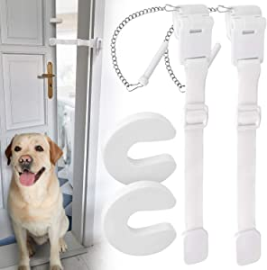 [2 Pack] Dog Door Strap Latch to Keep Dogs Out of Litter Box and Cat Food - Adjustable Door Strap for Pets, Includes Cat Door Stopper - Lets Cats In, Keeps Dogs & Babies Out - Easy To Use and Install