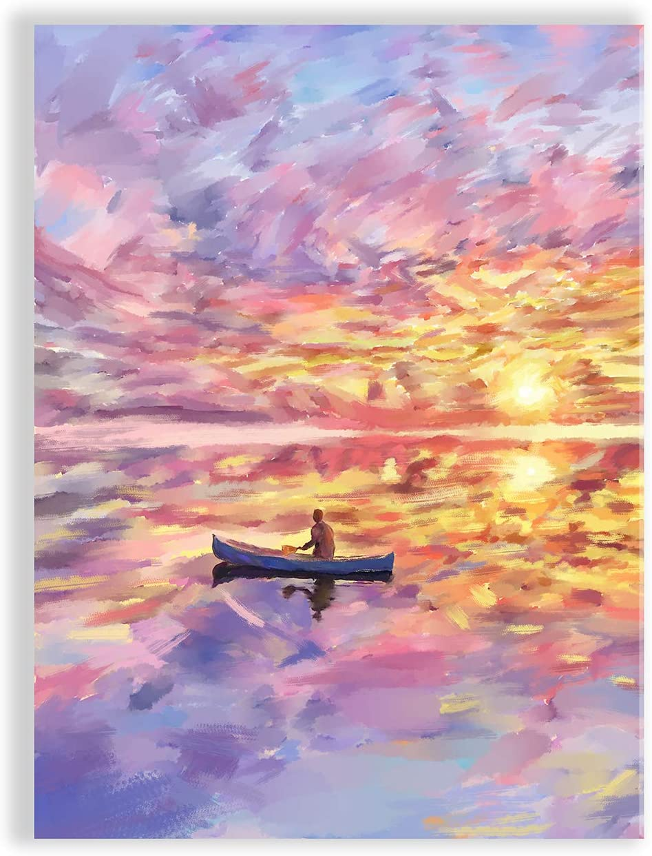 Wall Art Decor Prints Canoeing at Sunset Poster Framed Canvas Wall Art Decorations Home and Office Decor 12 inches Width by 16 inches Wall Art for Bedroom Living Room