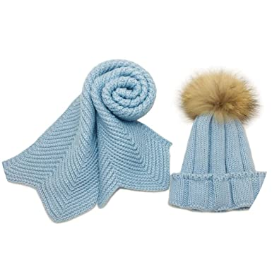 89e9e49ff61 Kids knitted Scarf and Hat Set Winter Crochet Hats and scarves with Real  fur pom Beanie