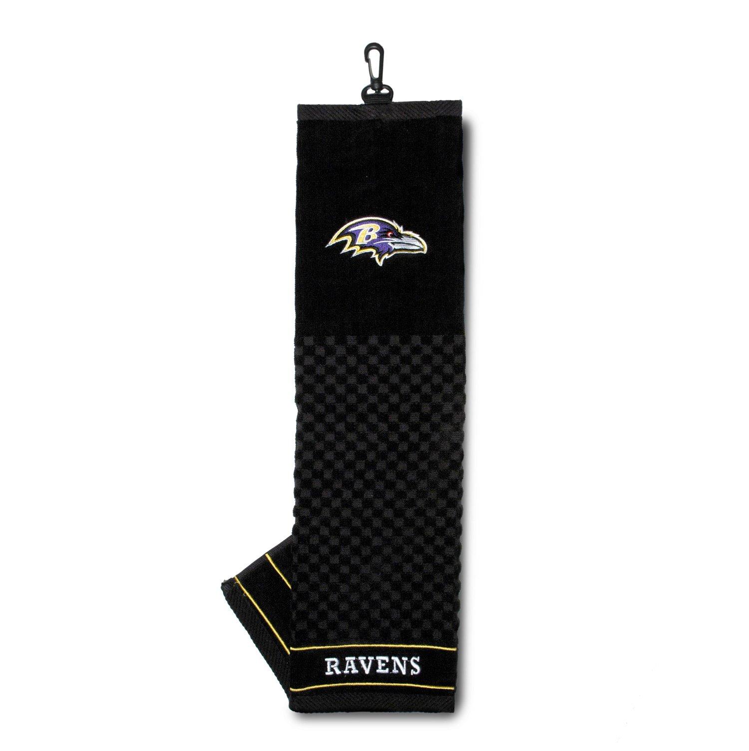 Team Golf NFL Baltimore Ravens Embroidered Golf Towel, Checkered Scrubber Design, Embroidered Logo