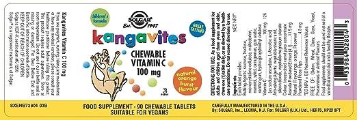 Solgar Kangavites Vitamina C 100 mg Comprimidos masticables - Envase de 90: Amazon.es: Salud y cuidado personal