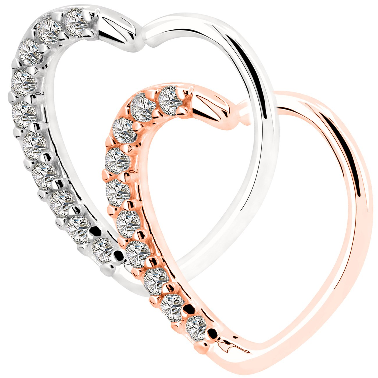 f23b084d6 Amazon.com: OUFER 2Pieces 18KT Rose Gold Clear Heart Daith Earrings  Cartilage Earring Hoop 16Gauge (1.2mm) (Style 1): Jewelry