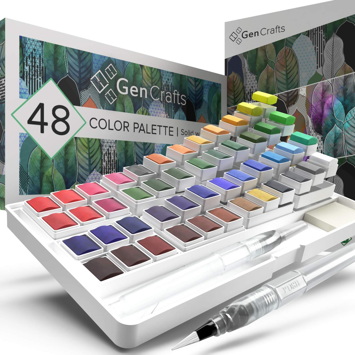 Watercolor Palette with Bonus Paper Pad by GenCrafts - Includes 48 Premium Colors - 2 Refillable Water Blending Brush Pens - No Mess Storage Case - 15 Sheets of Water Color Paper - Portable Painting