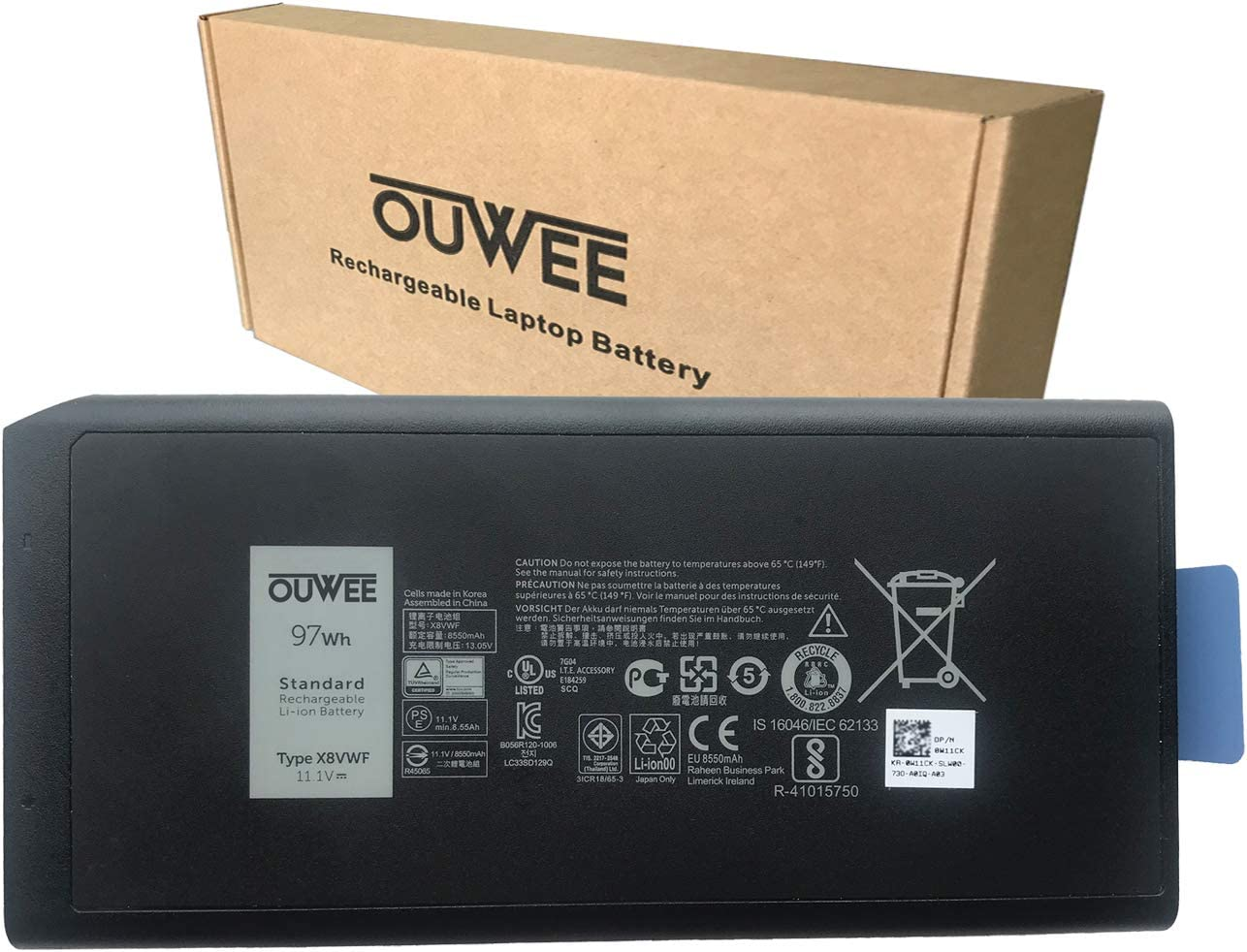 OUWEE X8VWF Laptop Battery Compatible with Dell Latitude 5404 7404 5414 7414 Rugged Extreme Series DKNKD 4XKN5 05XT3V 0VCHGN 09FN4 CJ2K1 XN4KN XRJDF YGV51 453-BBBE 0W11Y7 11.1V 97Wh 8550mAh 9-Cell