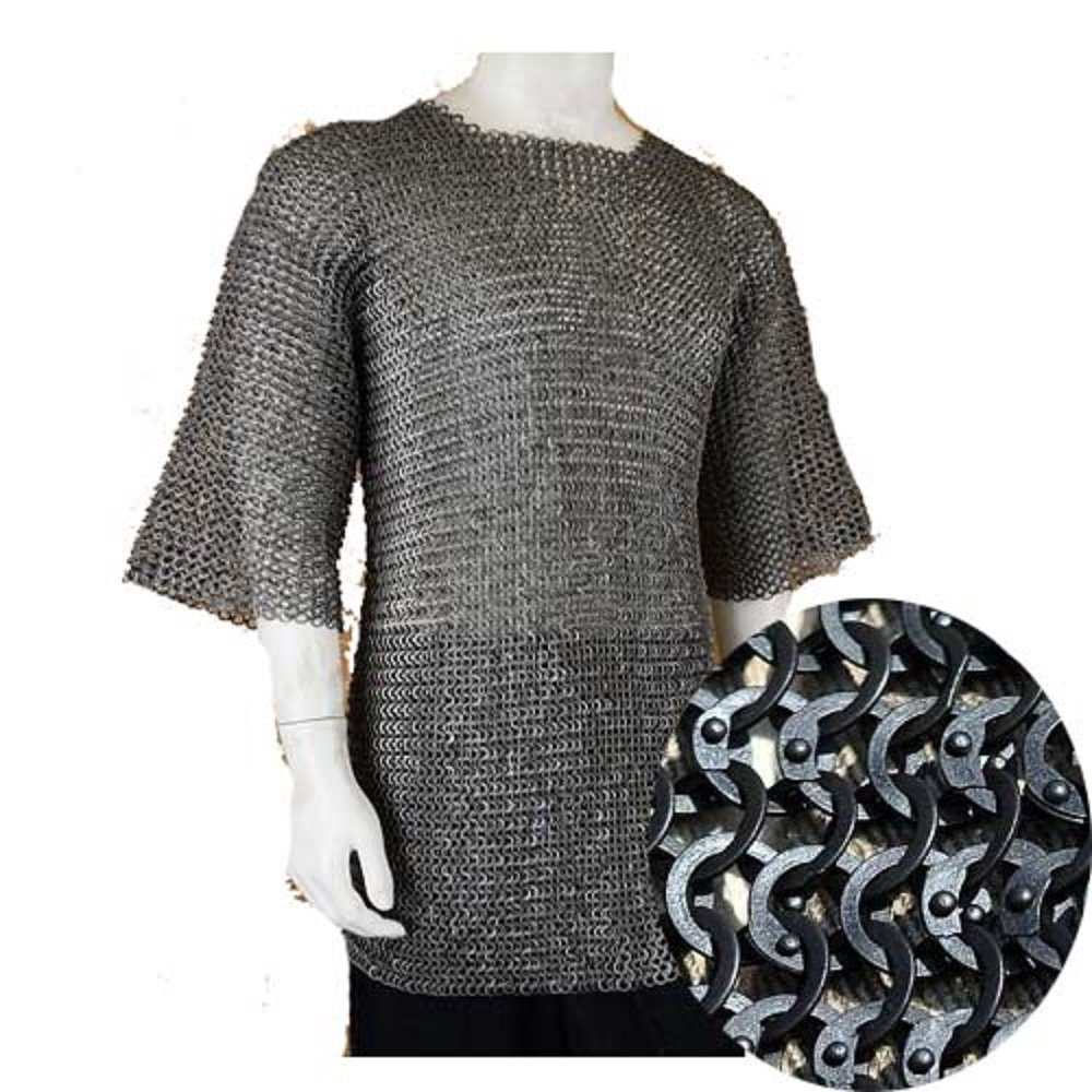 Chain Mail Shirt Armor 10 mm Flat Riveted with Washer MEDIEVAL ARMOUR SCA Haubergeon Chainmail Shirt (Medium)