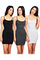 Bundle 3 Colors Zenana Women's Cotton Long Fitted Cami Dress for Base Layering