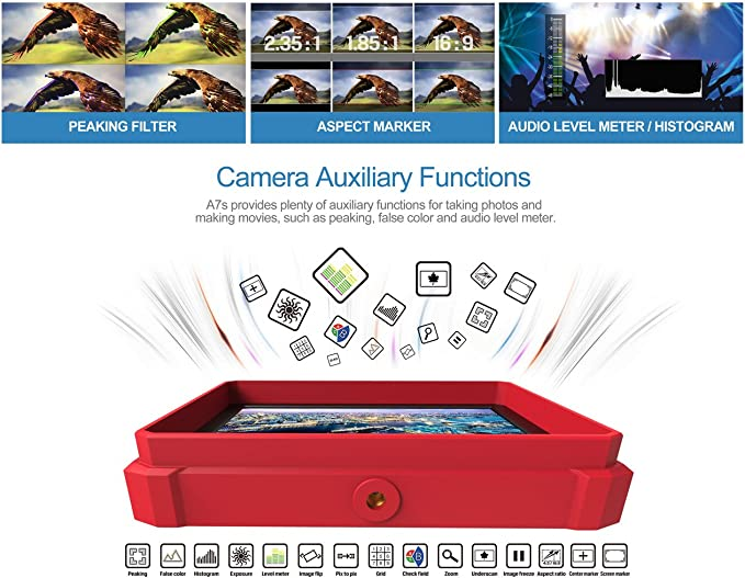 Rojo Lilliput a7s-2 7 pulgadas 1920 x 1200 HD IPS Pantalla Cámara Monitor 4K HDMI entrada salida vídeo DSLR cámara A7 A7S II A6500 GH5 5d Ronin M: Amazon.es: Informática