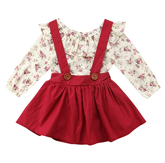 22f74babe009 Baby Girl 2pcs Outfits Floral Long Sleeve Ruffled T-Shirt Top+Suspender  Braces Skirt