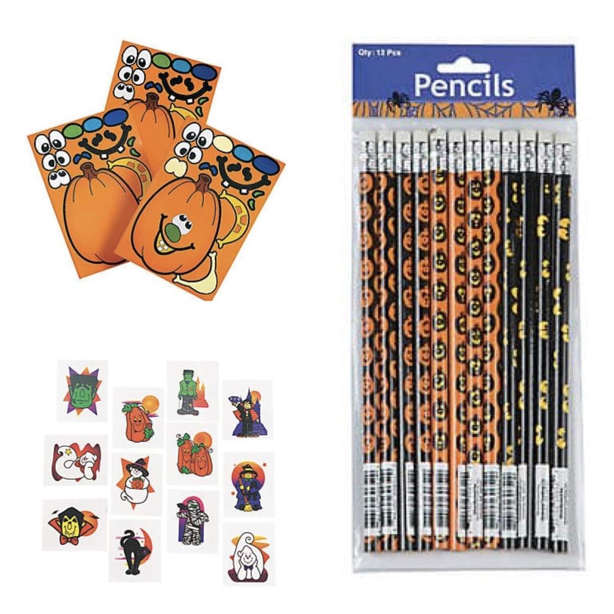 120 Halloween Party Favors - 24 Pencils - 72 Tattoos - 24 Make a Pumpkin Sticker Scenes - Teacher Supplies Classroom Rewards Jack O'Lantern - Trick or Treat Spooky