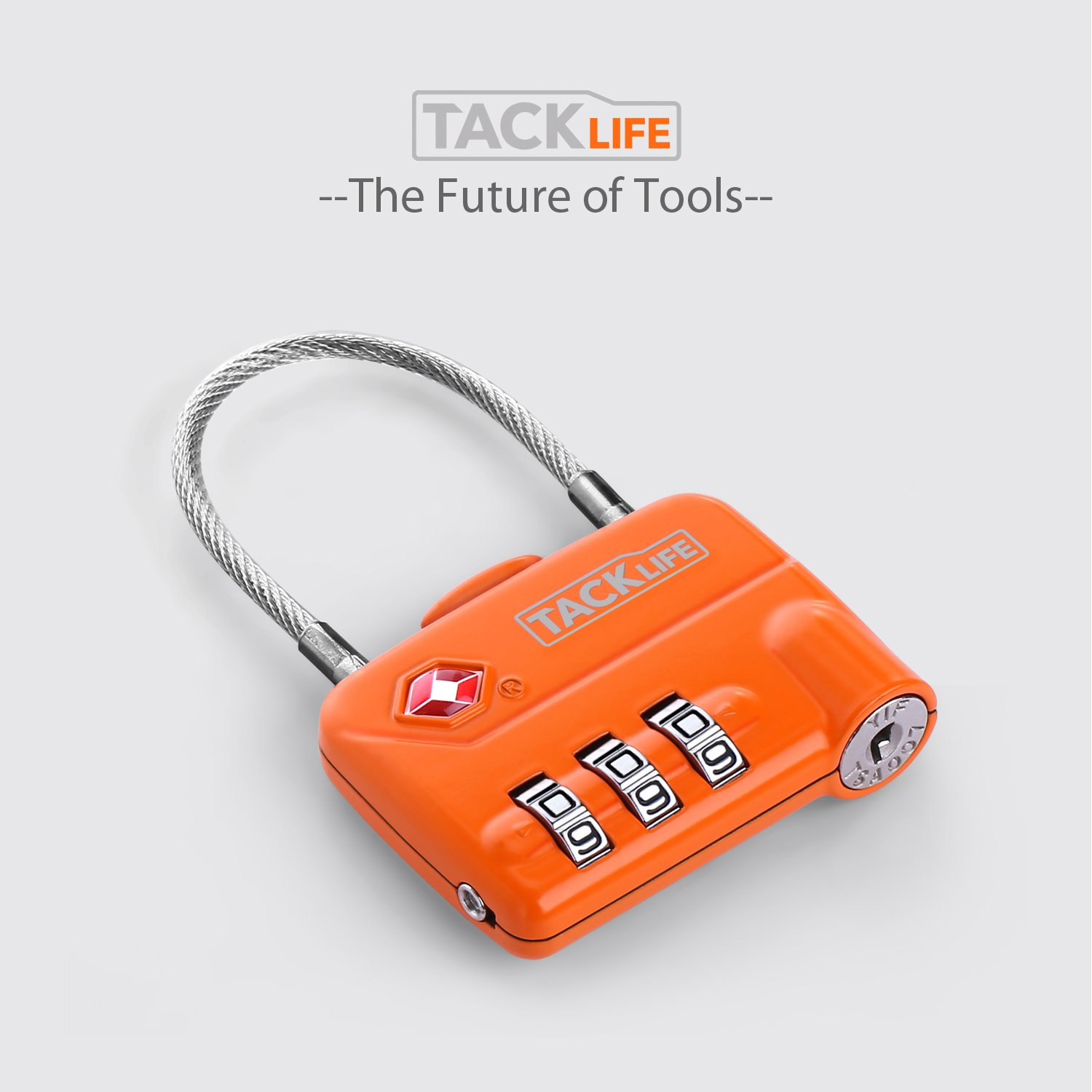 Luggage Locks, TACKLIFE HCL1A Cable Locks, TSA Approved Travel Locks, Flexible Locks, 3Digit Combination Locks for Gym, School, Locker, Outdoor, Fence, Suitcase & Baggage - Orange by TACKLIFE (Image #7)