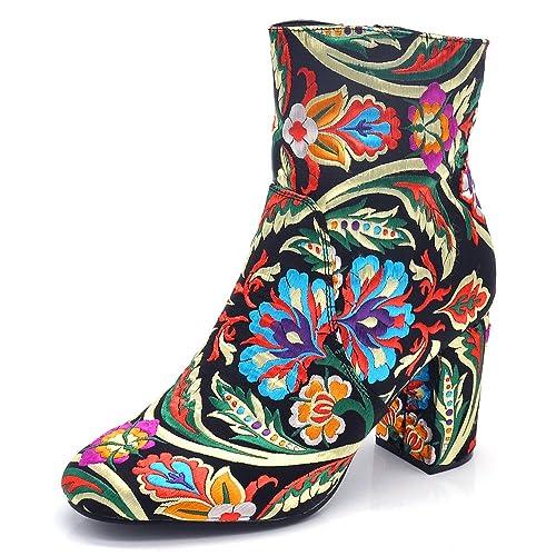 ed556005c93e If Fashion Stivaletti Tronchetto Scarpe Donna Ricamo Floreale Stivali Fiori  Tacco Grosso X7001 Nero N.36: Amazon.it: Scarpe e borse