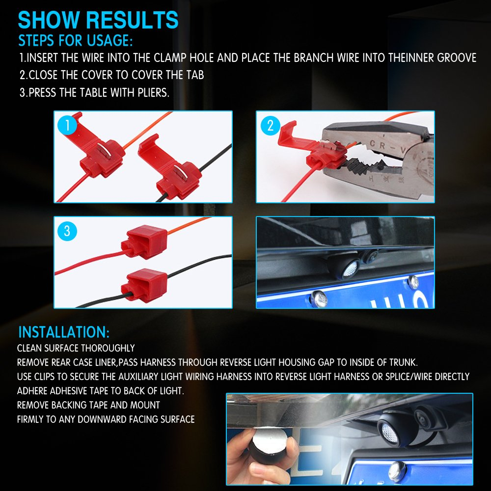 Autotime Led Reverse Lights 5w 650lm Auxiliary Super Bright Universal Motorcycle Wiring Harness Backup Rear View Light Parking