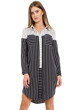 black and white striped longline shirt