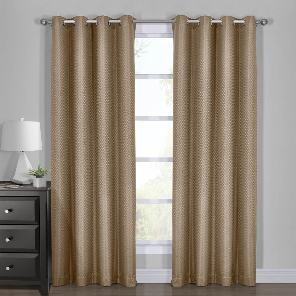 Diamond Taupe Curtains, Blackout Top Grommet, Jacquard Woven Diamond Window Panels, Pair / Set of 2 Panels, 54x120 inches Each, by Royal Hotel