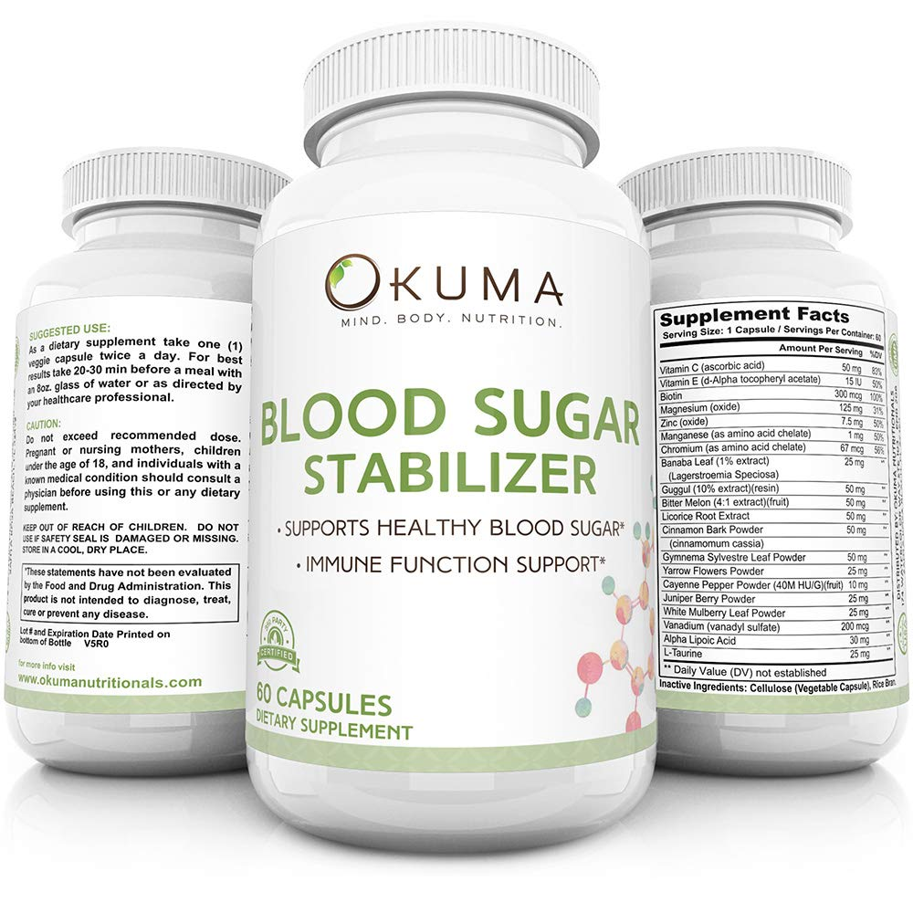 Blood Sugar Stabilizer - Promotes Healthy Insulin Levels | Helps Eliminate Energy Crashes | Reduces Brain Fog and sluggishness | Ideal for Seniors, Men, Women, and Professionals by Okuma Nutritionals