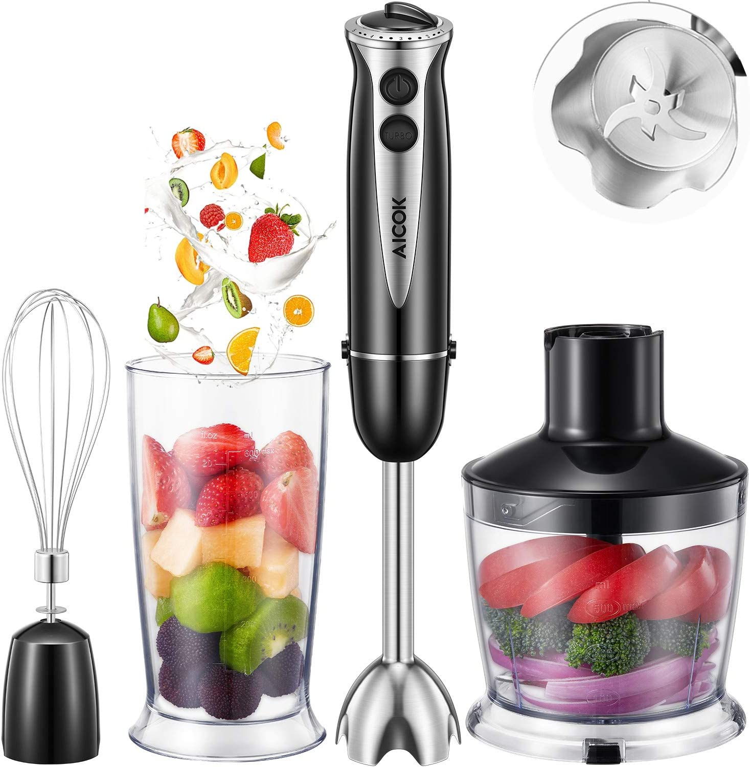 Aicok 4 in 1 Multi-Purpose Immersion Blender, 10-Speed Hand Blender with 6-Leaf Stainless Steel blades for Baby Food, Juices, Sauces and Soup, Includes BPA-Free Food Chopper Egg Whisk Beaker
