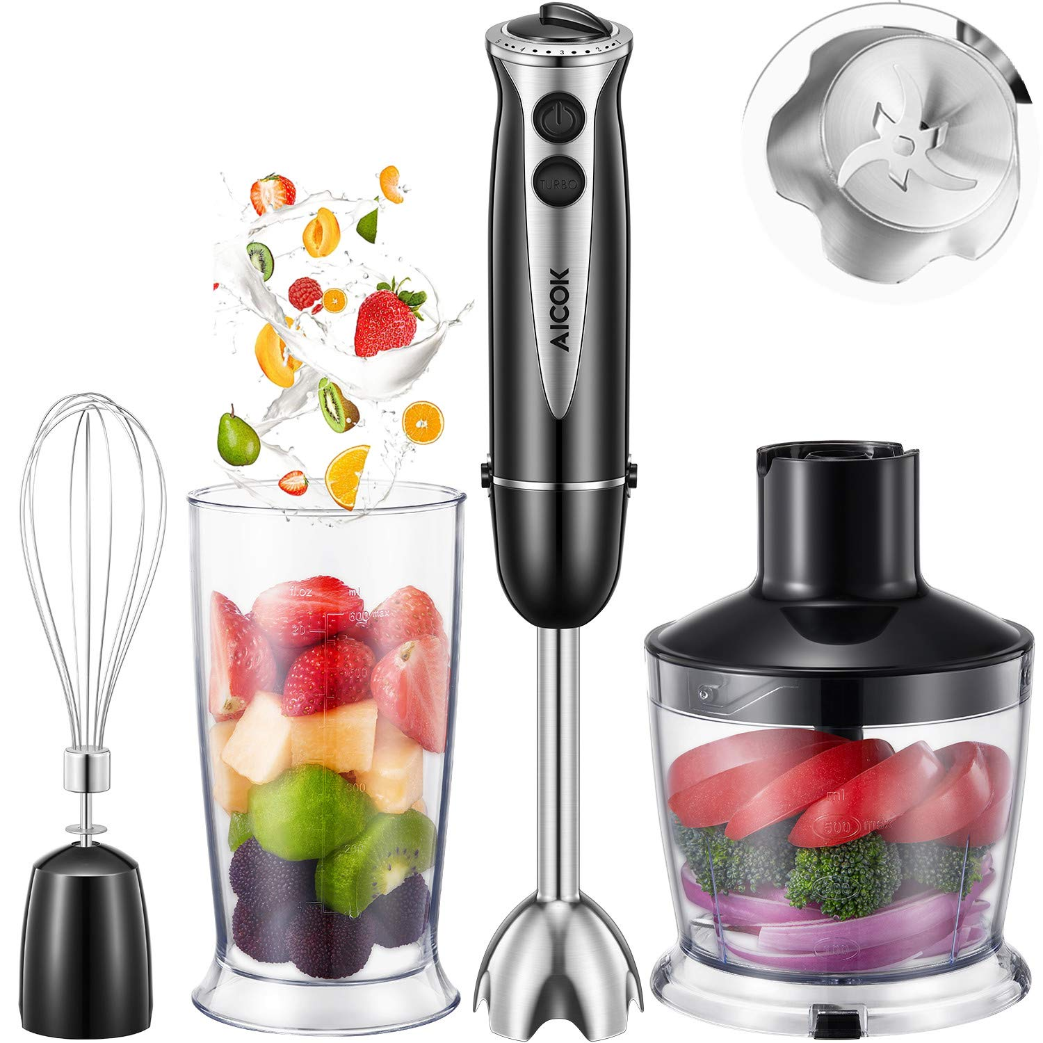 Aicok 4 in 1 Multi-Purpose Immersion Blender, 10-Speed Hand Blender with 6-Leaf Stainless Steel blades for Baby Food, Juices, Sauces and Soup, Includes BPA-Free Food Chopper / Egg Whisk / Beaker by AICOK