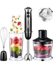 Aicok 800W 4-in-1 Multi-Purpose Immersion Blender, 10-Speed Hand Blender with 6-Leaf Stainless Steel blades for Baby Food, Juices, Sauces and Soup, Includes BPA-Free Food Chopper / Egg Whisk / Beaker