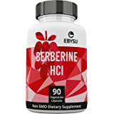 EBYSU Berberine HCl - 90 Vegan Capsules - 500mg Supplement – Botanical Compound to Support Healthy Blood Sugar Levels, Immune System, Digestion & Weight Management – 45 Day Supply