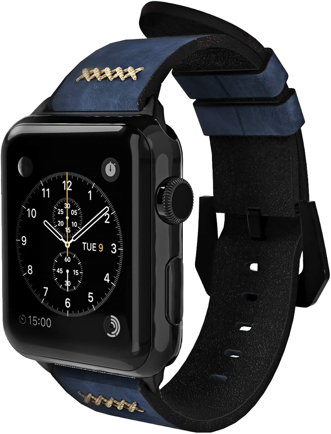 Gaze Leather Band Compatible with Apple Watch Band 38mm 40mm 44mm, Authentic Leather Replacement Strap Compatible with Apple Watch Series 5/4/3/2/1 (Midnight Blue, 42mm / 44mm)