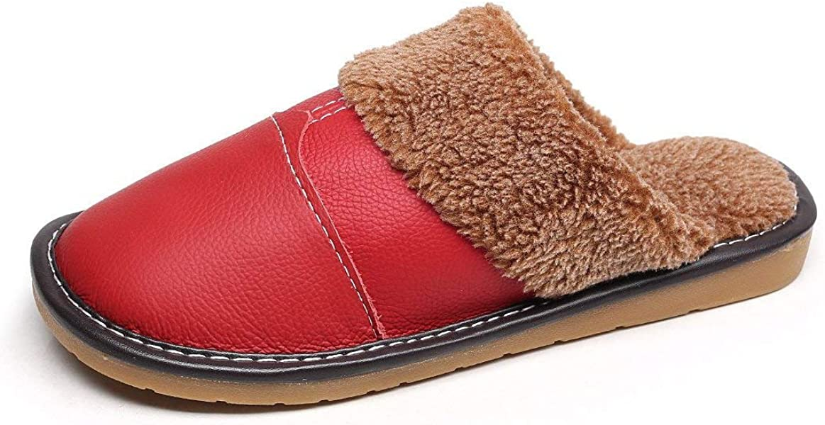 dac453e231245 YOOEEN House Shoes Mens Womens Comfort Leather Bedroom Slippers Warm  Breathable Plush Lining Indoor Mules Shoes
