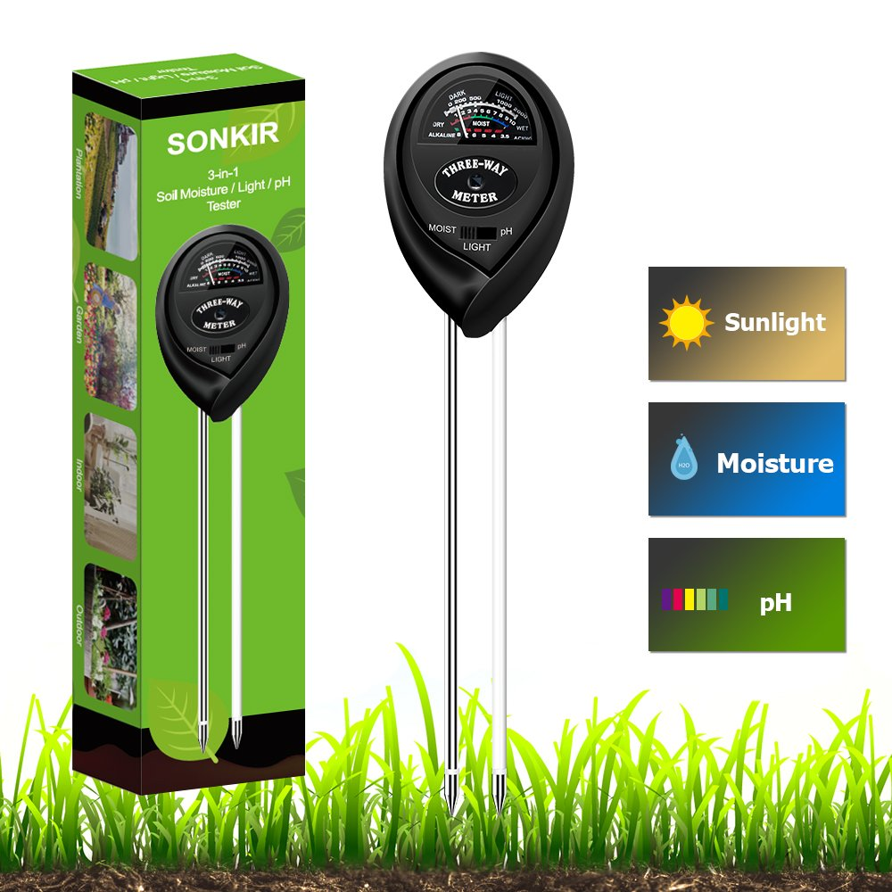 Sonkir Soil Tester, MS03 3-in-1 Plant Moisture Sensor Meter/Light/pH Tester for Home, Garden, Lawn, Farm, Indoor & Outdoor Use, Promote Plants Healthy Growth (Black)