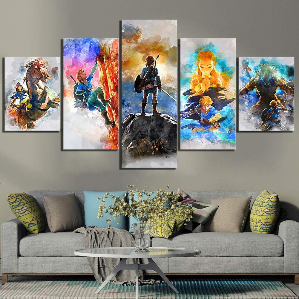 Rahmenlos,C YRRBI Wohnkultur Drucke Malerei 5 Panel Die Legende Von Zelda Bilder Spiel Wandkunst Modulare Leinwand Poster Moderne Nacht Hintergrund