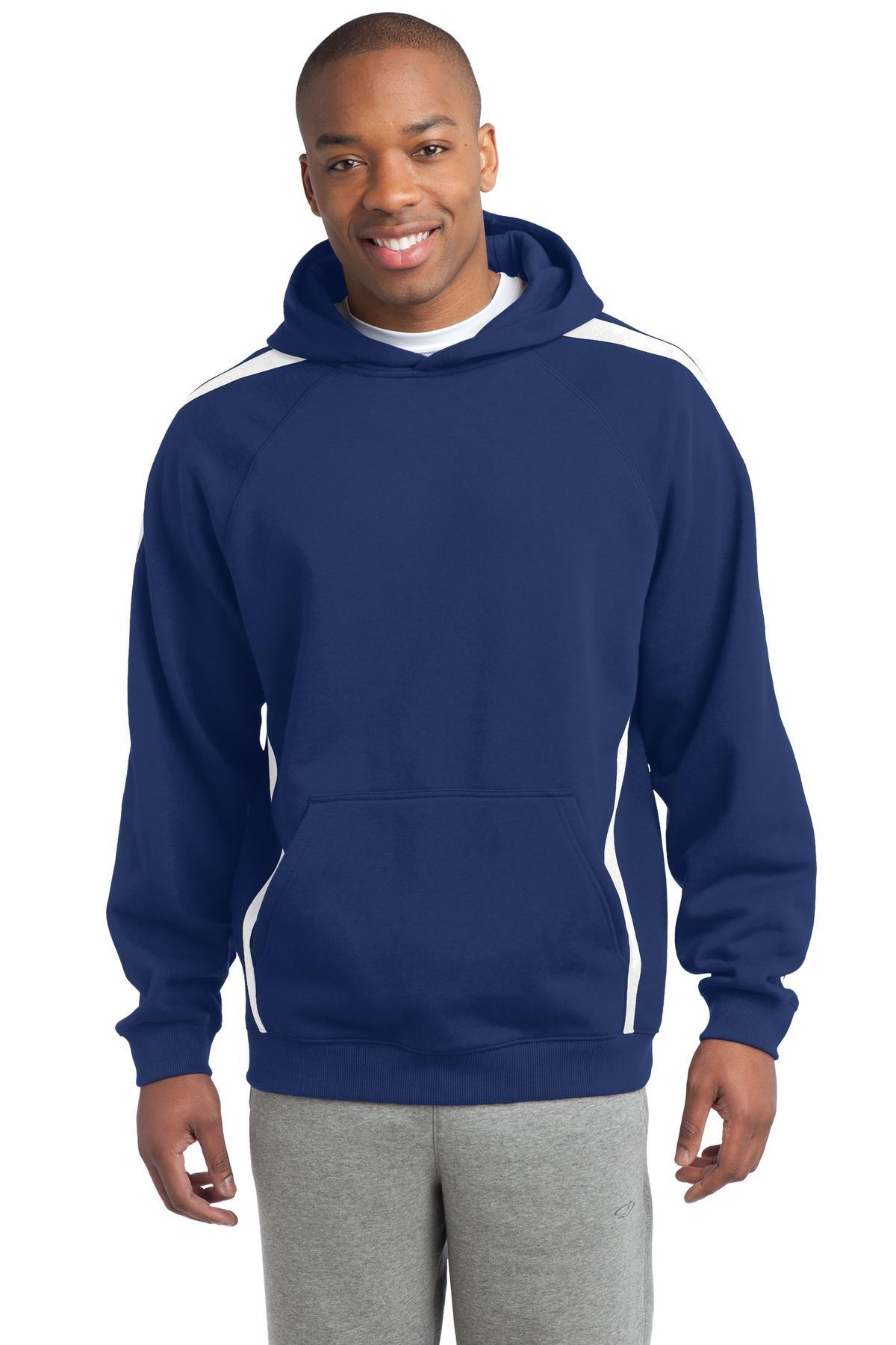Sport-Tek Men's Sleeve Stripe Pullover Hooded Sweatshirt S True Royal/White by Sport-Tek