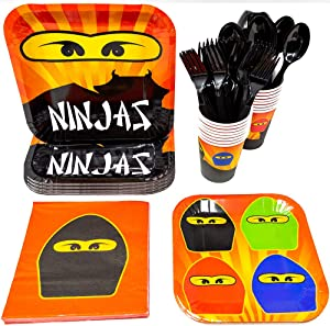 Blue Orchards Ninja Master Party Supplies Packs (113+ Pieces for 16 Guests!), Ninjago-Inspired Birthday Sets, Ninjago Tableware Packs