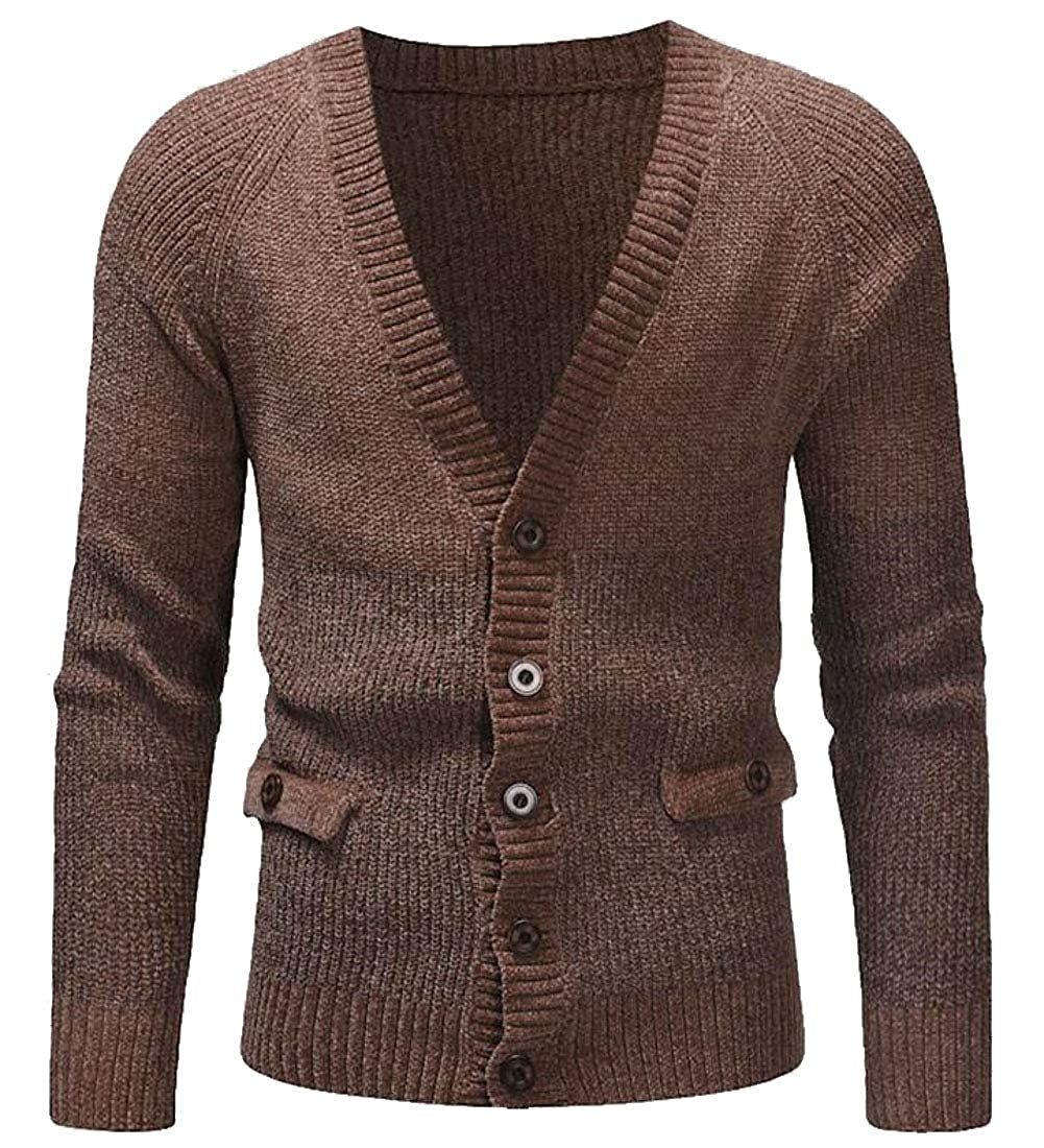 UNINUKOO Unko Men Winter V Neck Sweater Long Sleeve Thermal Knitted Cardigans