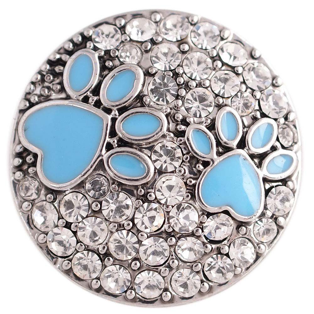 My Prime Gifts Interchangeable 18-20mm Snap Jewelry Blue Dog Paw Prints Rhinestone Partner Beads KC5366