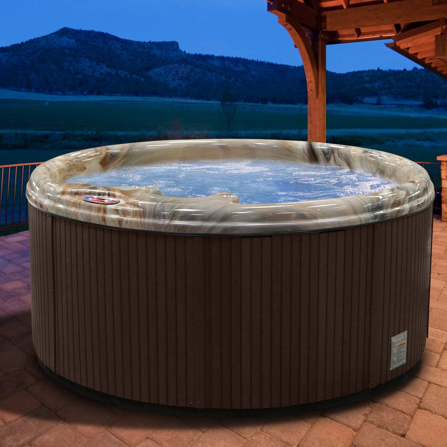 American Spas AM-511RM 5-Person 11-Jet Round Spa with Multi Color Spa Light, Tuscany Sun and Mahogany