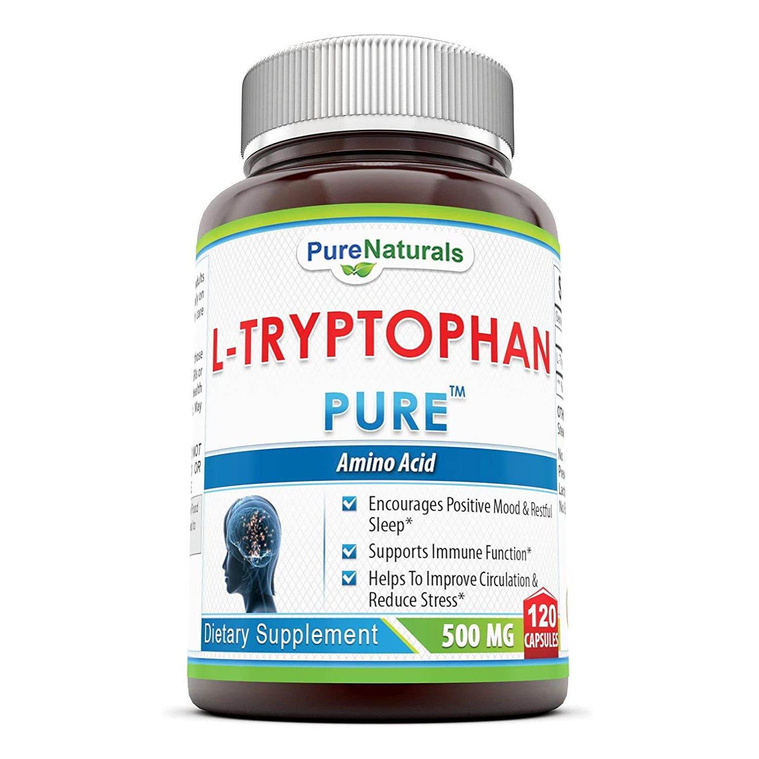 Pure Naturals L-Tryptophan Dietary Supplement, 500 Mg, 120 Capsules: Amazon. es: Salud y cuidado personal