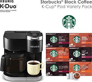 Keurig K-Duo Coffee Maker, Single Serve K-Cup Pod and 12 Cup Carafe Brewer, with Starbucks Black Coffee K-Cup Pod Variety Pack, 60 count